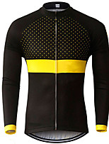 cheap -21Grams Men's Long Sleeve Cycling Jersey Black / Yellow Polka Dot Bike Jersey Top Mountain Bike MTB Road Bike Cycling UV Resistant Breathable Quick Dry Sports Clothing Apparel / Stretchy / Race Fit