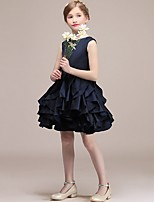 cheap -A-Line Round Short / Mini Satin Junior Bridesmaid Dress with Tier / Cascading Ruffles