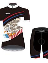 Недорогие -21Grams Жен. С короткими рукавами Велокофты и велошорты Черный / красный Животное Американский / США Eagle Велоспорт Наборы одежды / Слабоэластичная / Быстровысыхающий / Дышащий / Флаги