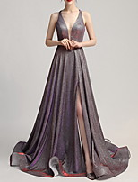 cheap -A-Line Sparkle Purple Prom Formal Evening Dress Halter Neck Sleeveless Court Train Polyester with Pleats Split 2020