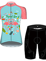cheap -21Grams Women's Short Sleeve Cycling Jersey with Shorts Pink+Green Flamingo Floral Botanical Bike Breathable Quick Dry Sports Flamingo Mountain Bike MTB Road Bike Cycling Clothing Apparel