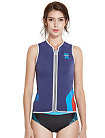 cheap -Dive&Sail Women's Wetsuit Top 3mm SCR Neoprene Jacket Windproof Sleeveless Front Zip - Swimming Diving Water Sports Autumn / Fall Spring Summer / Stretchy