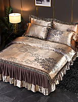 cheap -Tencel Modal Satin Jacquard Bedspread  4 Piece Lace Wedding European Bed Skirt Bedding Set