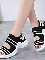 cheap -Women's Sandals Flat Sandal Summer Flat Heel Open Toe Daily Knit White / Black