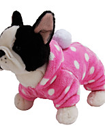 cheap -Dog Rabbits Cat Hoodie Jumpsuit Winter Dog Clothes Costume Flannel Fabric Polka Dot Casual / Daily Cute XS S M L XL XXL