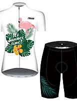 Недорогие -21Grams Жен. С короткими рукавами Велокофты и велошорты Красный / Белый Фламинго Цветочные ботанический Велоспорт Дышащий Быстровысыхающий Виды спорта Фламинго Горные велосипеды Шоссейные велосипеды