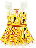 Недорогие -Дети Девочки Классический Симпатичные Стиль Горошек Halloween Сетка Пэчворк Без рукавов До колена Платье Желтый