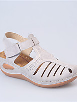 cheap -Women's Sandals Wedge Sandals 2020 Spring &  Fall / Spring & Summer Wedge Heel Round Toe Casual Basic Daily Outdoor PU White / Black / Red
