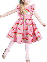 Недорогие -Дети Девочки Классический Симпатичные Стиль Контрастных цветов Радужный Оборки С принтом Без рукавов Выше колена Платье Розовый