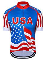Недорогие -21Grams Муж. С короткими рукавами Велокофты Красный + синий Американский / США Звезды Флаги Велоспорт Джерси Верхняя часть Горные велосипеды Шоссейные велосипеды / Эластичная / Быстровысыхающий