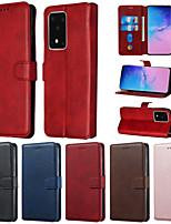 Недорогие -чехол для samsung граф сцены samsung galaxy s20 s20 plus s20 ultra a51 a71 сплошной цвет телячья кожа искусственная кожа держатель карты талреп все включено анти-падение чехол для мобильного телефона