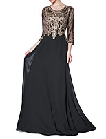 cheap -Sheath / Column Floral Black Wedding Guest Formal Evening Dress Jewel Neck 3/4 Length Sleeve Sweep / Brush Train Chiffon with Appliques 2020
