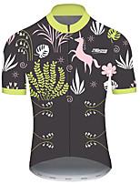 Недорогие -21Grams Муж. С короткими рукавами Велокофты Серый + зеленый единорогом Животное Цветочные ботанический Велоспорт Джерси Верхняя часть Горные велосипеды Шоссейные велосипеды / Эластичная / Дышащий