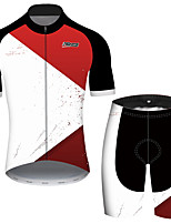 Недорогие -21Grams Муж. С короткими рукавами Велокофты и велошорты Red and White Пэчворк геометрический Велоспорт Наборы одежды Устойчивость к УФ Дышащий Быстровысыхающий Впитывает пот и влагу Виды спорта