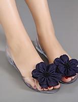 cheap -Women's Sandals Flat Sandal Summer Flat Heel Peep Toe Daily Synthetics White / Black / Champagne