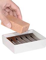 Недорогие -304 нержавеющая сталь прямоугольная мыльница мыльница двойной слив керамическая мыльница творческая ванная комната мыльница
