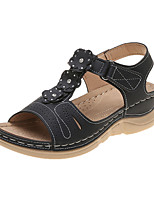 cheap -Women's Sandals 2020 Wedge Heel Open Toe PU Classic / Casual Spring &  Fall / Spring & Summer Dark Brown / Blue / Black