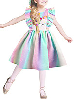 cheap -Kids Girls' Basic Cute Color Block Rainbow Cartoon Ruffle Print Sleeveless Above Knee Dress Blushing Pink