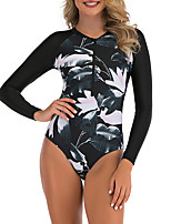 cheap -Women's One Piece Swimsuit Floral / Botanical Padded Swimwear Swimwear Red White Black Thermal / Warm Breathable Quick Dry Long Sleeve - Swimming Surfing Water Sports Autumn / Fall Spring / Stretchy