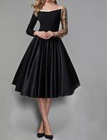 cheap -A-Line Elegant Black Engagement Prom Dress Off Shoulder 3/4 Length Sleeve Knee Length Satin Sequined with Pleats Sequin 2020