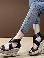 cheap -Women's Sandals Wedge Sandals Spring & Summer Wedge Heel Open Toe Daily Office & Career PU Black / Yellow / Gray
