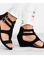 cheap -Women's Sandals Wedge Sandals Summer Wedge Heel Peep Toe Daily Canvas Black / Yellow / Brown