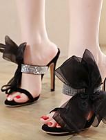 Недорогие -Жен. Свадебная обувь На шпильке Открытый мыс Полиуретан Весна лето Черный / Свадьба
