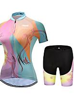 Недорогие -21Grams Жен. С короткими рукавами Велокофты и велошорты Розовый + зеленый В полоску Бабочка Цветочные ботанический Велоспорт Наборы одежды Дышащий 3D / Слабоэластичная / Быстровысыхающий / 3D-панель