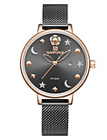 cheap -NAVIFORCE Women's Quartz Watches Casual Fashion Black Rose Gold Stainless Steel Japanese Quartz Rose Gold Golden+White Black Water Resistant / Waterproof Calendar / date / day New Design 30 m 1 pc