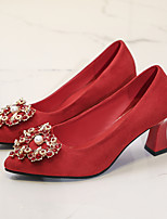 cheap -Women's Heels 2020 Chunky Heel Pointed Toe Imitation Pearl PU Classic / Chinoiserie Spring &  Fall / Spring & Summer Red / Wedding / Party & Evening
