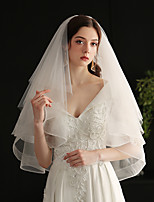 cheap -Three-tier Sweet Wedding Veil Elbow Veils with Fringe Tulle