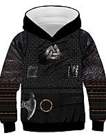 cheap -Kids Boys' Basic Vintage Color Block 3D Graphic Print Long Sleeve Hoodie & Sweatshirt Black