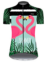 cheap -21Grams Women's Short Sleeve Cycling Jersey Black / Green Flamingo Animal Floral Botanical Bike Jersey Top Mountain Bike MTB Road Bike Cycling UV Resistant Breathable Quick Dry Sports Clothing Apparel