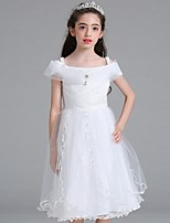 cheap -Sheath / Column Bateau Tea Length Lace / Tulle Junior Bridesmaid Dress with Bow(s) / Ruffles