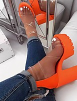 cheap -Women's Sandals Chunky Heel Open Toe PU Summer Orange / Black