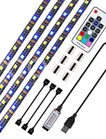 cheap -4*0.5M Flexible LED Light Strips / RGB Strip Lights / Neon Strip Lights 120 LEDs Dip Led 10mm 17-Key Remote Controller 4pcs / 1 set Warm White / RGB Halloween / Christmas Waterproof / USB / Suitable
