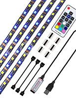 Недорогие -4 * 0.5M Гибкие светодиодные ленты / RGB ленты / Неоновые полосы 120 светодиоды ДИП светодиоды 10mm 17-клавишный пульт дистанционного управления 4шт / 1 комплект Тёплый белый / RGB