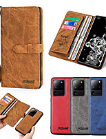 cheap -Case For Samsung Galaxy S20 / S10 / Galaxy S9 / S8 / S7 Wallet / Card Holder / Shockproof Full Body Cases Wood Grain PU Leather / Genuine Leather