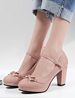 cheap -Women's Sandals Chunky Heel Closed Toe PU Summer Red / Pink / Blue