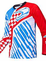 Недорогие -21Grams Муж. Длинный рукав Велокофты Сноуборд Джерси Джерси Байк Джерси Красный + синий Клетки В полоску Велоспорт Джерси Верхняя часть Горные велосипеды Шоссейные велосипеды / Эластичная / Дышащий