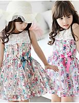 Недорогие -Дети Девочки Милая Симпатичные Стиль Цветочный принт Без рукавов Выше колена Платье Розовый