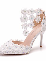 cheap -Women's Sandals Heel Sandals White Sandals Spring & Summer / Fall & Winter Stiletto Heel Pointed Toe Sweet Minimalism Wedding Sparkling Glitter / Buckle / Stitching Lace Camouflage Lace / PU White