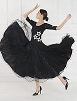 cheap -Ballroom Dance Dress Embroidery Split Joint Women's Training Performance Short Sleeve Mesh Lycra