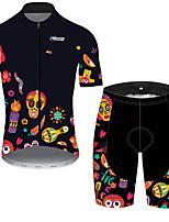 Недорогие -21Grams Муж. С короткими рукавами Велокофты и велошорты Черный / желтый Черепа Цветочные ботанический Велоспорт Наборы одежды Устойчивость к УФ Дышащий Быстровысыхающий Впитывает пот и влагу
