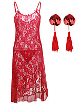 cheap -Women's Lace / Sequins / Cut Out Suits Nightwear Solid Colored Red White Black S M L