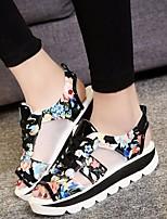 cheap -Women's Sandals Flat Sandal Summer Flat Heel Open Toe Daily PU Black / Red / Blue