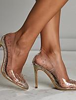 Недорогие -Жен. Свадебная обувь На шпильке Заостренный носок Полиуретан Весна лето Золотой / Свадьба