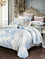 cheap -Comforter Bedding Sets Tencel Silk Luxury Duvet Cover Bed Sheet Hot Sale Queen King Double Blue Jacquard Bed Linens Set