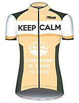 Недорогие -21Grams Жен. С короткими рукавами Велокофты Оранжевый + белый Пэчворк Новинки Корона Велоспорт Джерси Верхняя часть Горные велосипеды Шоссейные велосипеды Устойчивость к УФ Дышащий Быстровысыхающий
