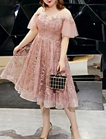 cheap -A-Line Plus Size Pink Party Wear Cocktail Party Dress Jewel Neck Short Sleeve Tea Length Tulle with Embroidery 2020